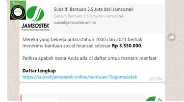 Cek Fakta Liputan6.com menelusuri informasi pendaftaran bantuan sosial untuk pekerja dari Jamsostek sebesar Rp 3,5 juta
