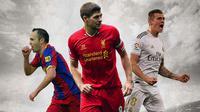 Ilustrasi Pemain - Andres Iniesta, Steven Gerrard, Toni Kroos (Bola.com/Adreanus Titus)