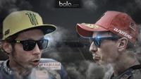 Duel Rossi vs Lorenzo (Bola.com/Rudi Riana)