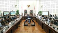 Wapres Jusuf Kalla bertemu dengan sejumlah menteri bahas upaya peningkatan investasi di sektor pariwisata (Foto:Merdeka.com/Dwi Aditya Putra)