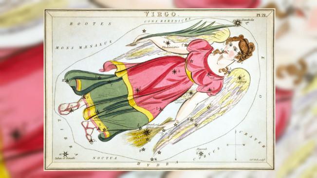 Gugusan bintang dalam rasi Virgo sebagaimana dikhayalkan manusia sejak ribuan tahun. (Sumber Wikimedia Commons/Sidney Hall)