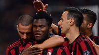 Selebrasi Pemain AC Milan usai jebol gawang SPAL (AFP)