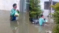 Meski Sedang Banjir Driver Ojol Ini Tetap Semangat Antar Pesanan, Bikin Salut. (Sumber: Instagram/gojek24jam)