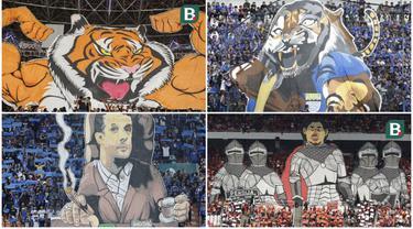 berikut ini koreografi dari suporter Persija dan suporter Persib Bandung