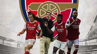 Arsenal - David Luis, Mikel Arteta, Thomas Partey, Aubameyang (Bola.com/Adreanus Titus)