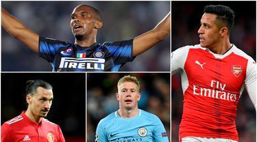 Berikut ini Alexis Sanchez dan enam pemain yang pernah ditangani dua pelatih top, Pep Guardiola dan Jose Mourinho. Diantaranya, Samuel Eto'o, Zlatan Ibrahimovic dan Kevin De Bruyne. (Foto-foto Kolase AP, Epa dan AFP)