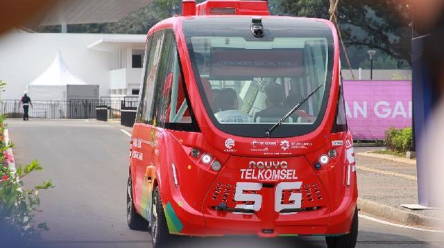 bus otonomos atau nirsopir Navya dipakai di perhelatan Asian Games 2018 (Navya)