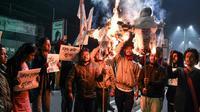 Aksi unjuk rasa semakin meluas di negara bagian Assam, menentang pengesahan UU Kewarganegaraan terbaru (AFP/Biju Boro)