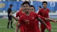 Striker Timnas Indonesia U-22, Osvaldo Haay, merayakan gol yang dicetaknya ke gawang Timnas Laos dalam pertandingan Grup B SEA Games 2019 di Stadion City of Imus Grandstand, Filipina, Kamis (5/12/2019). Indonesia berhasil melaju semifinal setelah mengalahkan Laos 4-0. (Bola.com/M Iqbal Ichsan)