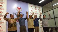 Para sekjen parpol Koalisi Adil dan Makmur di kediaman Prabowo, Jakarta, Jumat (28/6/2019). (Merdeka.com/Intan Umbari Prihatin)