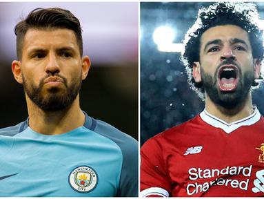 Sergio Aguero, masih memimpin top scorer sementara Premier League dengan 19 gol. Namun Striker Manchester City tersebut harus mewaspadai Mohamed Salah yang kembali mencetak gol dan berada tepat dibawahnya dengan selisih satu gol. (Foto EPA dan AFP)