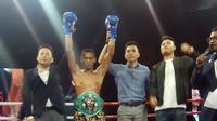 Petinju kelas bulu dari Indonesia Erick Destroyer berhasil meraih kemenangan technical knockout (TKO) atas Muhammad Shehran (Dok Marinir)