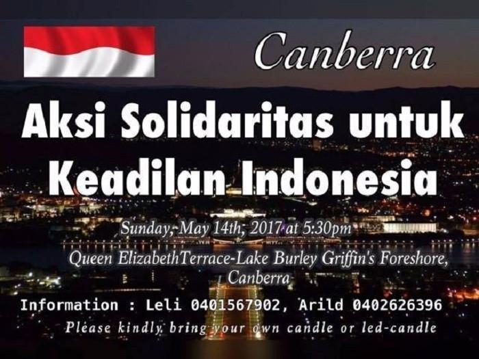 Aksi Solidaritas untuk Ahok di Canberra (Foto:Istemewa)