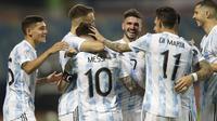 Kemenangan ini membawa Argentina lolos ke babak semifinal Copa America 2021. Argentina selanjutnya akan menghadapi Kolombia pada babak semifinal Copa America 2021 di Stadion Nasional Mane Garrincha, Brasil. (Foto:AP/Andre Penner)