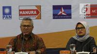Ketua KPU Arief Budiman memberi penjelasan saat sosialisasi Sistem Informasi Pencalonan (Silon) di kantor KPU, Jakarta, Senin (7/5). Penerapan Silon ini juga diharapkan bisa membangun kepercayaan publik terhadap pemilu.(Www.sulawesita.com)