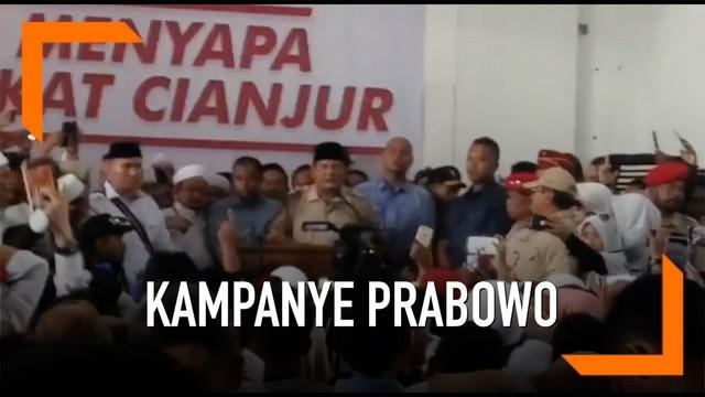 Berkampanye di Cianjur Capres nomor urut 02 Prabowo Subianto disambut meriah warga. Prabowo meminta warga Cianjur mendukung dirinya dalam Pilpres 2019, warga juga Diminta melawan segala bentuk intimidasi dalam pemilu