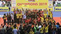 Jakarta PGN Popsivo Polwan rayakan gelar juara Proliga 2019. (Humas PBVSI)