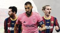 Lionel Messi, Karim Benzema dan Antoine Griezmann. (Bola.com/Dody Iryawan)