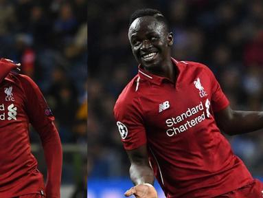 Persaingan menjadi jawara top scorer Premier League semakin seru. Mohamed Salah dan Sadio Mane yang sama-sama mencetak dua gol kala melumat Huddlesfield 5-0 kini bertengger di top 3 pencetak giol terbanyak Premier League. (Kolase Foto AFP)