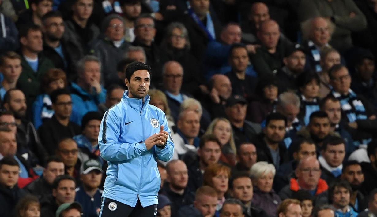 Asisten manajer Manchester City, Mikel Arteta resmi ditunjuk sebagai manajer baru dari Arsenal menggantikan posisi Unai Emery yang dipecat pada 29 November lalu. (AFP/Paul Ellis)