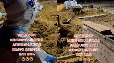 Kumandang takbir seorang penggali kubur peringati Idul Adha 1442 H.