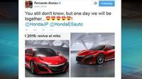 Alonso pun mengungkapkan kegalauannya tersebut pada akun jejaring sosial Twitter miliknya.
