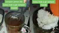 Viral Teh Manis Dicampur Nasi Putih Untuk Sarapan, Bikin Warganet Syok (Sumber: TikTok/elza_arswendo12)