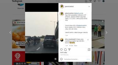 Viral rombongan pesepeda roadbike melintas di JLNT Antasari, Jakarta Selatan saat PPKM Level 4