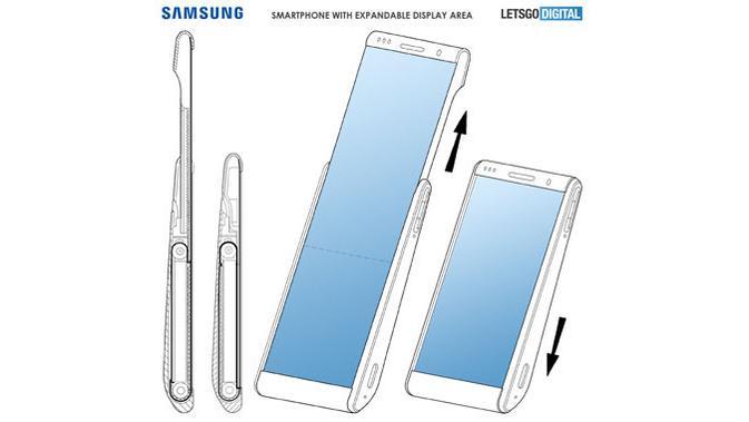 Samsung ajukan paten smartphone layar gulung. (Doc: LetsGoDigital / Samsung)