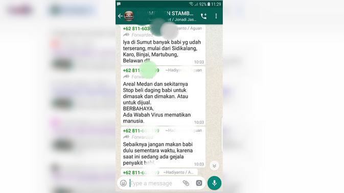 [Cek Fakta] Hoaks Wabah Penyakit Babi yang Bisa Mematikan Manusia  (WhatsApp)