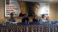 Diskusi Publik Indonesia Political Review (IPR) gelar diskusi yang bertemakan 'Debat Perdana, Siapa Paling Unggul? di Jakarta. (Merdeka.com)