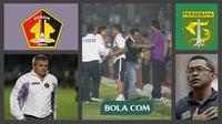 Aji Santoso saat menjadi pelatih Persik Kediri dan Persebaya. (Bola.com/Foto Gatot Susetyo dan Yoppy Renato)