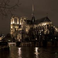 Gereja Katedral Notre Dame dikelilingi banjir akibat luapan sungai Seine di Paris, Senin (29/1). Tingkat air di Sungai Seine mencapai puncaknya, dengan sekitar empat meter di atas permukaan air normal untuk sepanjang tahun. (CHRISTOPHE ARCHAMBAULT/AFP)