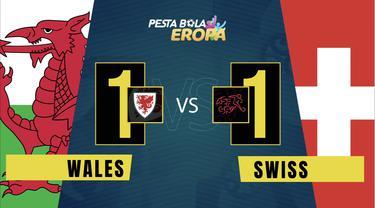 Cover motion grafis laga kedua Grup A Euro 2020, di mana Wales bermain imbang 1-1 melawan Swiss, Sabtu (12/6/2021) malam hari WIB.