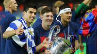 Ekspresi Trio MSN masing-masing yaitu Lionel Messi, Luis Suarez, dan Neymar   (EPA/Kay Nietfeld)