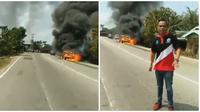 Mobil Mewahnya Terbakar, Pria Ini Malah Santai dan Jadi Presenter Dadakan (sumber:Instagram/fakta.indo)