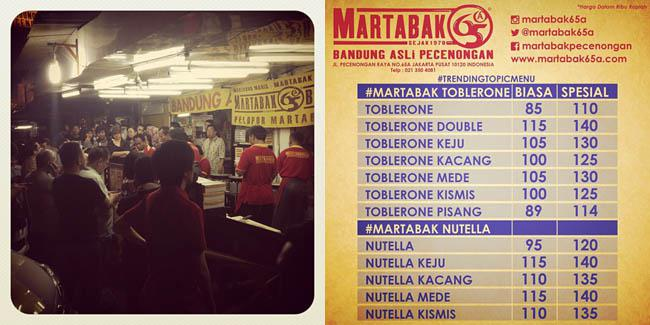Daftar harga Martabak Nutella dan Martabak Toblerone | Foto: instagram.com/martabak65A