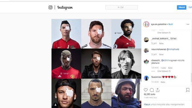 [Cek Fakta] Solidaritas untuk Wartawan Palestina, Ronaldo dan Messi Tutup Mata Kiri? (Instagram)