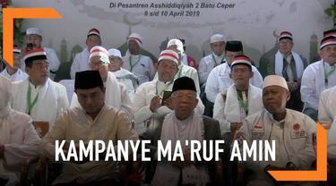 Cawapres 01 Ma'ruf Amin bersilaturahmi dengan para pengasuh pondok pesantren se Indonesia. Para pengusuh ponpes se Indonesia berikrar mendukung pasangan 01 Jokowi-Ma'ruf Amin dalam Pilpres 2019.