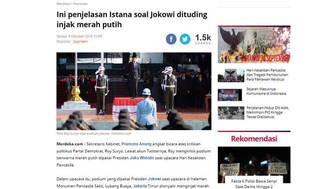 [Cek Fakta] Viral Foto Pemuda dan Jokowi yang Disebut Lecehkan Bendera Merah Putih, Ini Faktanya