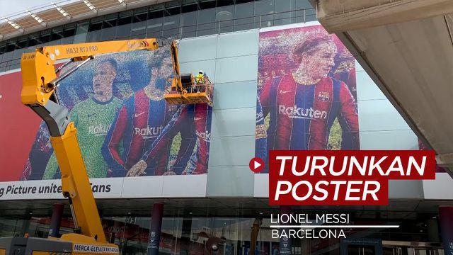 Berita Video Barcelona Turunkan Poster Lionel Messi di Camp Nou