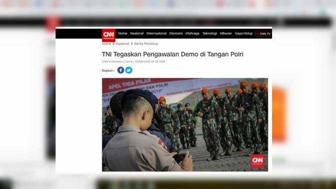 Cek Fakta: pernyataan Kapuspen TNI Mayjen Sisriadi (Screenshoot CNN Indonesia)