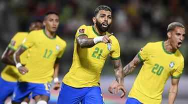 Brasil sukses menaklukkan Venezuela pada pertandingan Kualifikasi Piala Dunia 2022 zona Conmebol atau Amerika Selatan di UCV Olympic Stadium, Caracas, pada Jumat (8/10/2021). (AFP/Yuri Cortez)