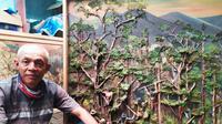 Seniman Syam Al Yasin, (65) atau yang biasa dipanggil Apih di kalangan pelukis asal kota dodol Garut, di depan sebuah lukisan berbahan sampah eceng gondok, lumut dan rating pohon yang berada di kawasan wisata Situ Bagendit, Garut, Jawa Barat. (Liputan6.com/Jayadi Supriadin)