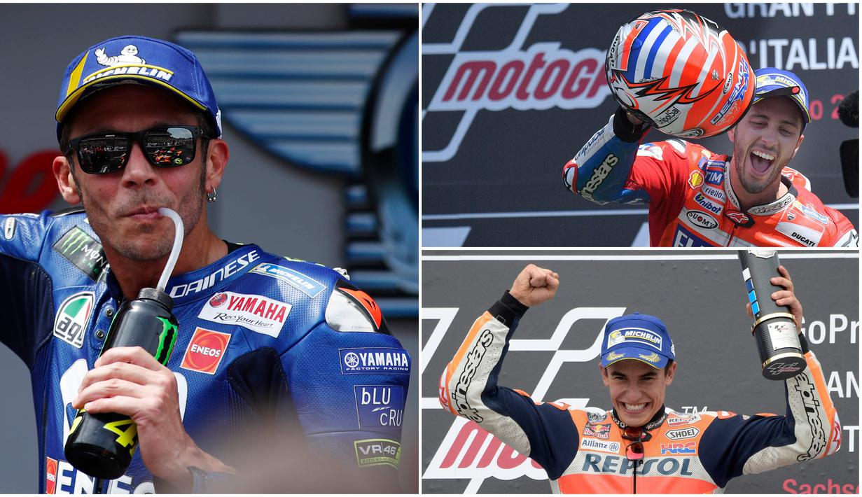 Berikut ini para pebalap MotoGP yang mempunyai Follower terbanyak di Instagram. Posisi teratas dikuasai oleh Valentino Rossi dan Marc Marquez menempel di posisi ke dua. (Foto Kolase AP dan AFP)