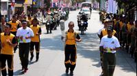 Simulasi kirab obor Asian Games di Garut (Liputan6.com/Jayadi Supriadin)