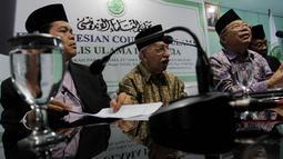 Dalam jumpa pers tersebut, MUI menolak rencana penghilangan kolom agama di Kartu Tanda Penduduk (KTP), Jakarta, Kamis (13/11/2014).  (Liputan6.com/Johan Tallo)