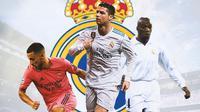 Real Madrid - Eden Hazard, Cristiano Ronaldo, Claude Makelele (Bola.com/Adreanus Titus)