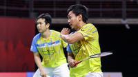 Ganda putra Indonesia Hendra Setiawan/Mohammad Ahsan gagal lolos ke final Toyota Thailand Open 2021 yang berlangsung di Impact Arena, Bangkok. (foto: BWF-limited acces)