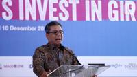 Wakil Menkeu Suahasil Nazara memberi sambutan dalam forum dialog Summit on Girls Getting Equal: Let's Invest in Girls di Jakarta, Selasa (10/12/2019). Pemerintah dukung untuk berinvestasi pada gender perempuan lewat beasiswa Lembaga Pengelola Dana Pendidikan (LPDP). (Liputan6.com/Fery Pradolo)